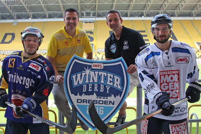Andre Muecke (WSW), Dirk Rohrbach (WSW), Thomas Popiesch (DD), Feodor Boaiarchinov (DD) - © by Eislöwen PR