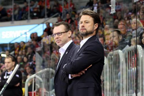 DEG-Trainergespann Mike Pellegrims und Tobias Abstreiter