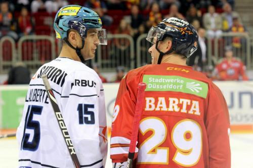 Alte Teammates, jetzt getrennt: John Laliberte (ERCI) - Alex Barta (DEG)
